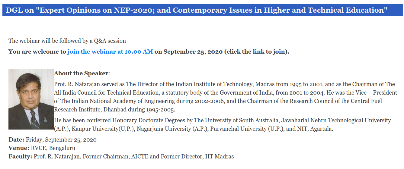 "Prof. R. Natarajan: ""Expert Opinions on NEP-2020; and Contemporary Issues"" - Webinar"